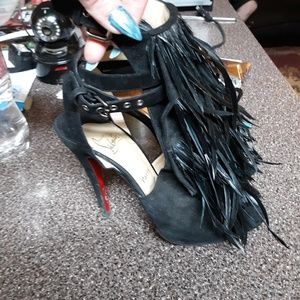 100% Authentic Christian Louboutin feathered heels